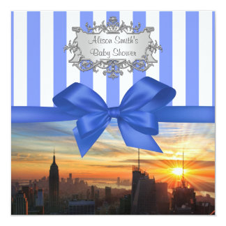 "NYC Skyline at Sunset Baby Shower Invite 5.25"" Square Invitation Card"