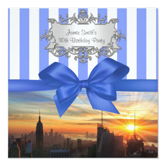 "NYC Skyline at Sunset Birthday Party Invite 5.25"" Square Invitation Card"