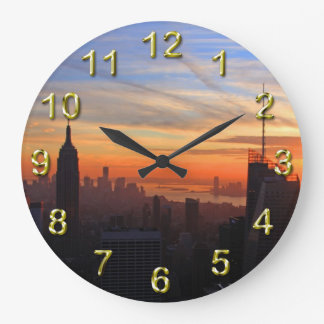 NYC skyline at sunset, Blue, Gold, Orange sky Large Clock