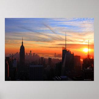 NYC skyline at sunset, Blue, Gold, Orange sky Poster