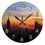 NYC skyline at sunset, Blue, Gold, Orange sky Wall Clock