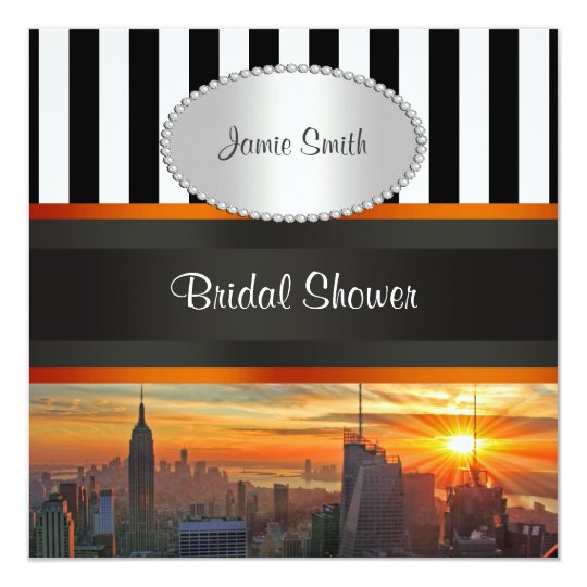 NYC Skyline at Sunset, BW Stripe Bridal Shower Card