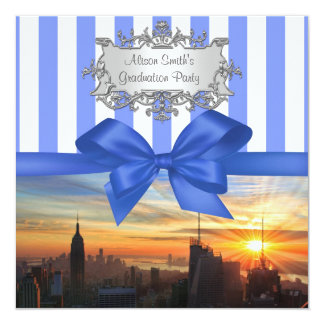 "NYC Skyline at Sunset Graduation Party Invite 5.25"" Square Invitation Card"