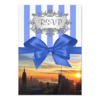"NYC Skyline at Sunset Invition Suite RSVP 3.5"" X 5"" Invitation Card"