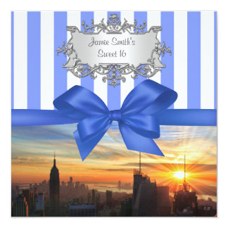 "NYC Skyline at Sunset Sweet 16 Party Invitation 5.25"" Square Invitation Card"