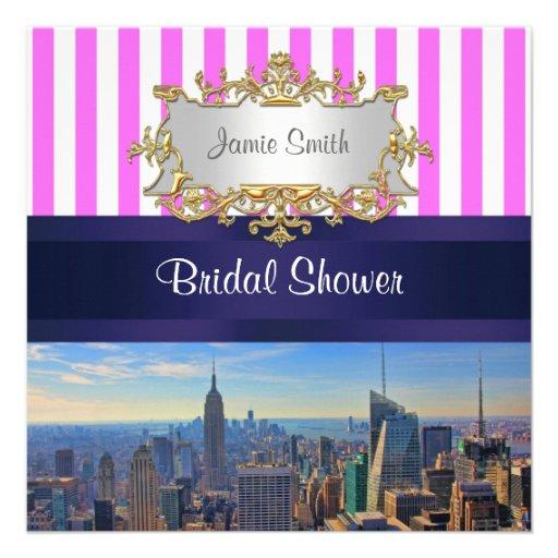 NYC Skyline B2 Pink White Stripe Bridal Shower Invites