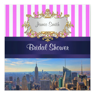 NYC Skyline B2 Pink White Stripe Bridal Shower Invitation