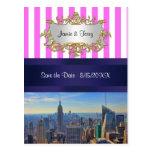 NYC Skyline B2 Pink White Stripe Save the Date Postcard
