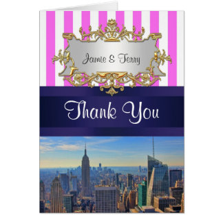 NYC Skyline B2 Pink White Stripe Thank You Stationery Note Card