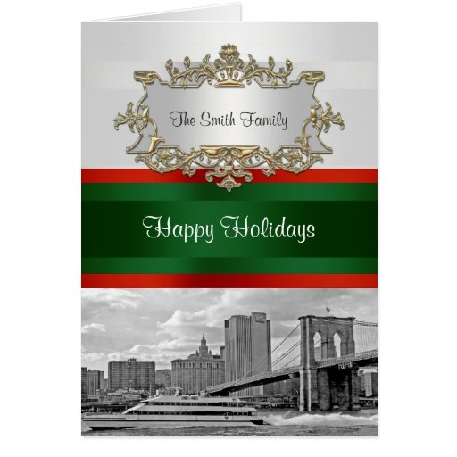 NYC Skyline Bkln Br BW White Red Grn Christmas #1B Greeting Card