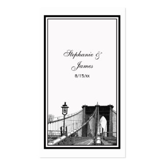NYC Skyline Bklyn Bridge #2 Etched Escort Cards Double-Sided Standard Business Cards (Pack Of 100)