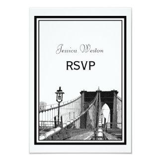 NYC Skyline Bklyn Bridge #2 Etched RSVP Card