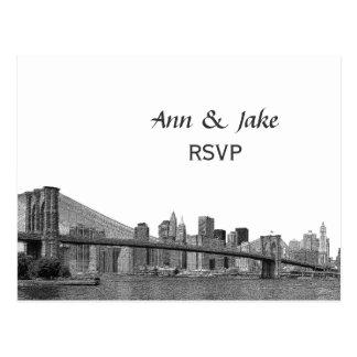 NYC Skyline Bklyn Bridge Etched #2H RSVP Postcard