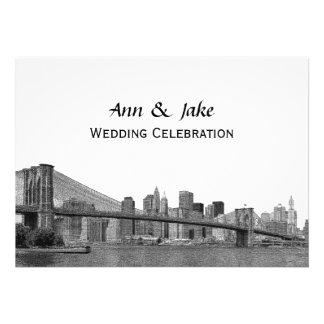 NYC Skyline Bklyn Bridge Etched #2H Wedding Card
