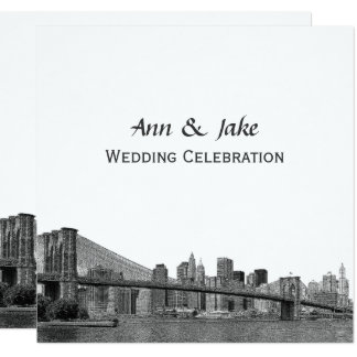 NYC Skyline Bklyn Bridge Etched #2SQ Wedding Card