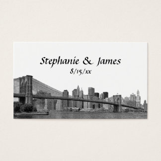 NYC Skyline Bklyn Bridge Etched Place Cards