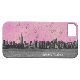 NYC Skyline Blk  Wht, Pnk White Gold Starry Sky #2 iPhone 5 Cover