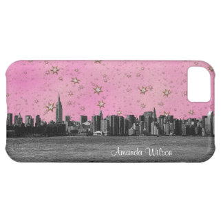 NYC Skyline Blk Wht, Pnk White Gold Starry Sky #2 iPhone 5C Cover