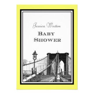 NYC Skyline Brooklyn Bridge #1 Etched Baby Shower Invitation