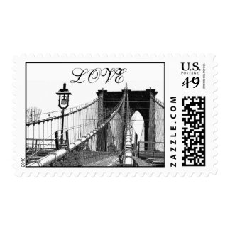 NYC Skyline Brooklyn Bridge #2 LOVE Postage