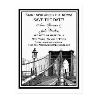 NYC Skyline Brooklyn Bridge #2 Save the Date Postcard