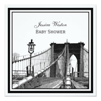 NYC Skyline Brooklyn Bridge #2 SQ Baby Shower Card
