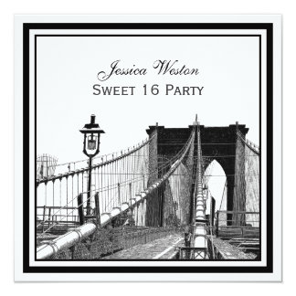 NYC Skyline Brooklyn Bridge #2 SQ Sweet 16 Party Personalized Invite