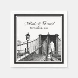 NYC Skyline Brooklyn Bridge #2 SQ Wedding Paper Napkin