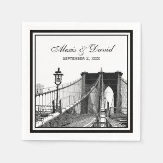 NYC Skyline Brooklyn Bridge 2 SQ Wedding Paper Napkins