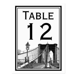NYC Skyline Brooklyn Bridge #2 Table Number Card Postcard