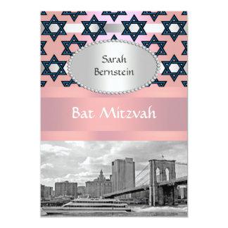 NYC Skyline Brooklyn Bridge Bat Mitzvah #1P Personalized Announcements