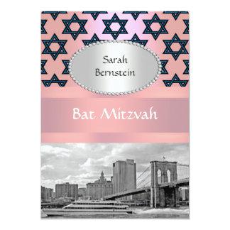NYC Skyline Brooklyn Bridge Bat Mitzvah #2P Custom Announcement