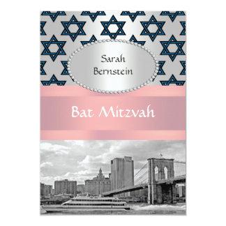 NYC Skyline Brooklyn Bridge Bat Mitzvah #3P Personalized Invitations