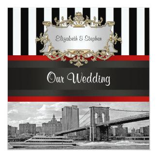 NYC Skyline Brooklyn Bridge Blk White 2 Wedding Card