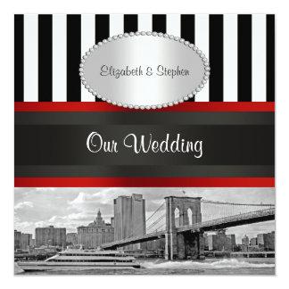 NYC Skyline Brooklyn Bridge Blk White P Wedding Card
