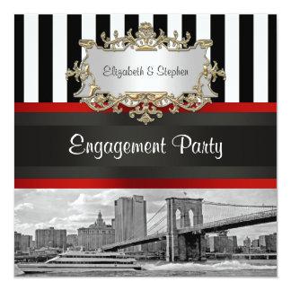 NYC Skyline Brooklyn Bridge Blk Wht 2 Engagement Card