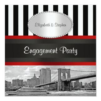 NYC Skyline Brooklyn Bridge Blk Wht P2 Engagement Card