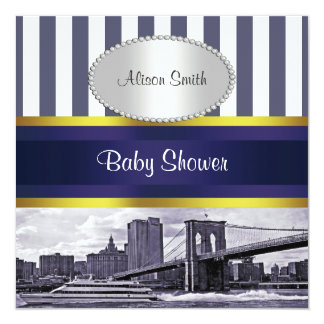 NYC Skyline Brooklyn Bridge Blue White Baby Shower Card
