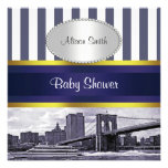 NYC Skyline Brooklyn Bridge Blue White Baby Shower Personalized Announcement
