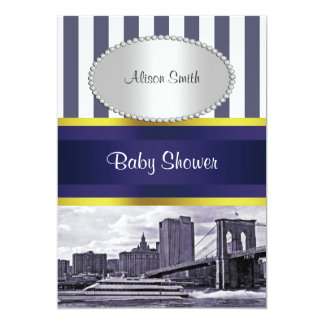 NYC Skyline Brooklyn Bridge Blue Wht 2 Baby Shower Card