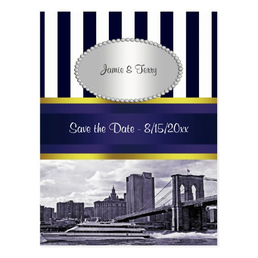 NYC Skyline Brooklyn Bridge Blue Wht P Save Date Post Card