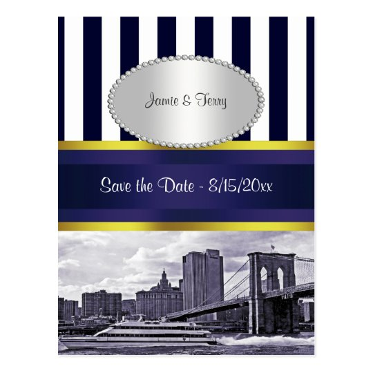 NYC Skyline Brooklyn Bridge Blue Wht P Save Date Postcard