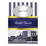 NYC Skyline Brooklyn Bridge Blue Wt2 Bridal Shower Custom Invites