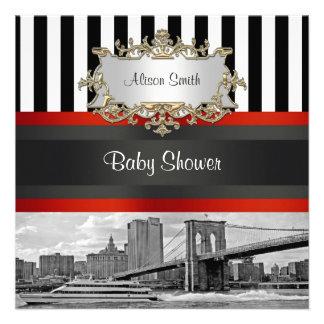 NYC Skyline Brooklyn Bridge Boat 2 Baby Shower Invite