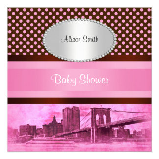 NYC Skyline Brooklyn Bridge Boat 3 Baby Shower Personalized Announcement