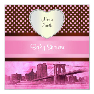 NYC Skyline Brooklyn Bridge Boat 3H Baby Shower Card