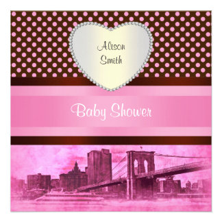 NYC Skyline Brooklyn Bridge Boat 3H Baby Shower Personalized Invite