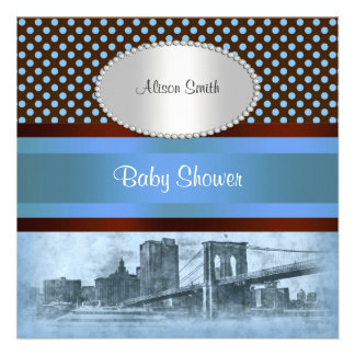 NYC Skyline Brooklyn Bridge Boat 4 Baby Shower Personalized Invitations