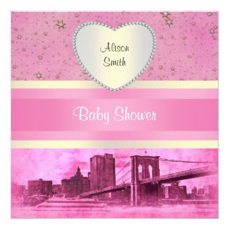 NYC Skyline Brooklyn Bridge Boat 5H Baby Shower Custom Invitation