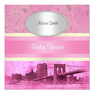 NYC Skyline Brooklyn Bridge Boat 5P Baby Shower Card